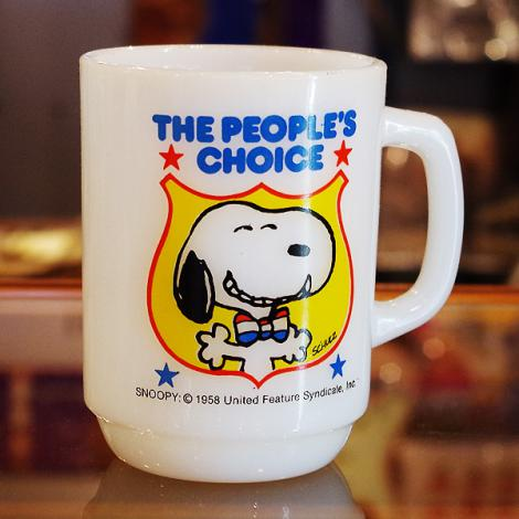 80's Fire King Snoopy For President Mug No.4