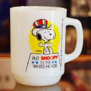 80's Fire King Snoopy For President Mug No.3