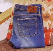 "RRL SLIM BOOT CUT CRASH & REPAIR DENIM "" W30 """